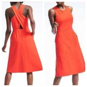 BANANA REPUBLIC Criss-Cross Back Orange Dress 10